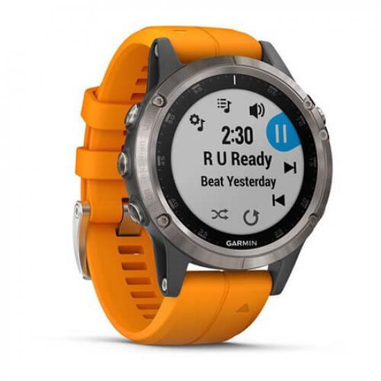 Часы Garmin FENIX 5 PLUS SAPPHIRE Ti/Orange Band(010-01988-16)