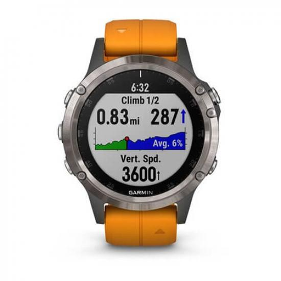 Часы Garmin FENIX 5 PLUS SAPPHIRE Ti/Orange Band (010-01988-16)