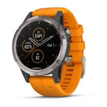 Часы Garmin FENIX 5 PLUS SAPPHIRE Ti/Orange Band(010-01988-16)