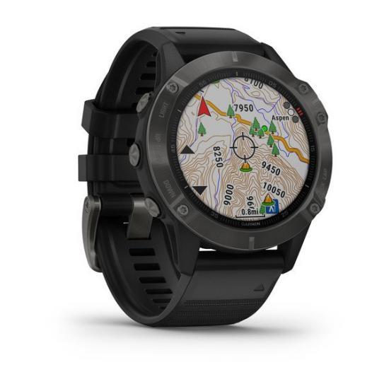 Часы Garmin FENIX 6 Sapphire серые с черным ремешком (010-02158-11)