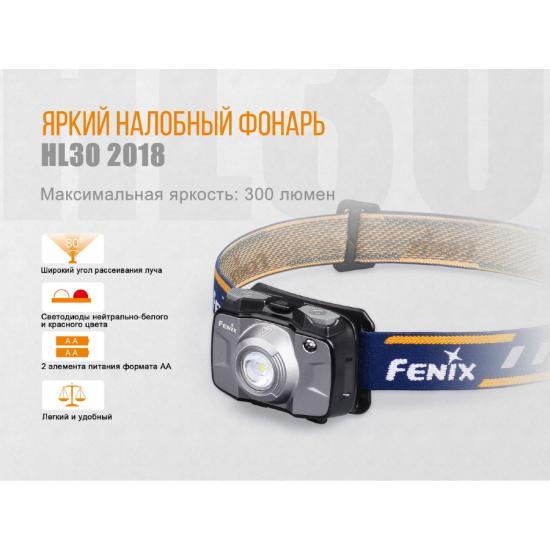 Фонарь Fenix HL30 (2018) серый