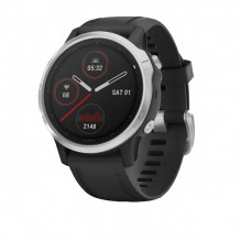 Часы Garmin FENIX 6S серебристые с черным ремешком (010-02159-01)
