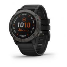 Часы Garmin FENIX 6X Pro Solar титановые серые DLC с черным ремешком (010-02157-21)