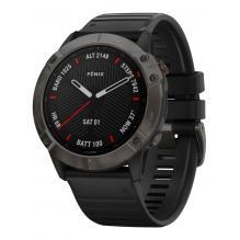 Часы Garmin FENIX 6X Sapphire серые DLC с черным ремешком (010-02157-11)