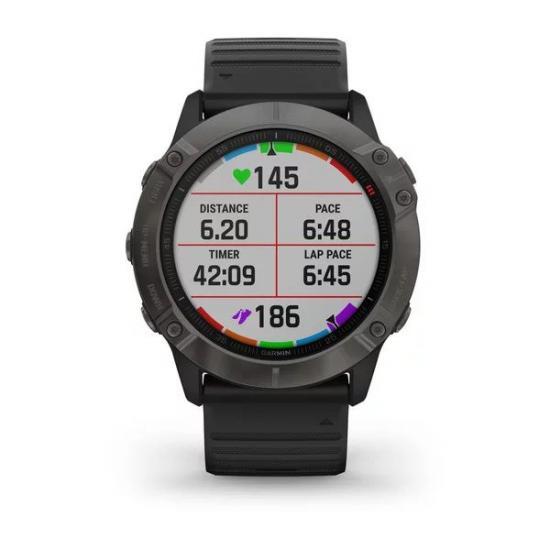 Часы Garmin FENIX 6X Sapphire серый карбон DLC с черным ремешком (010-02157-11)