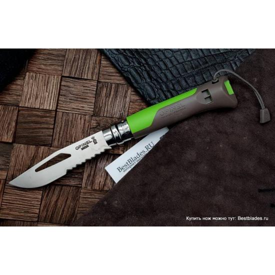 Нож OPINEL №8 Outdor Earth нержавеющая сталь, зеленый