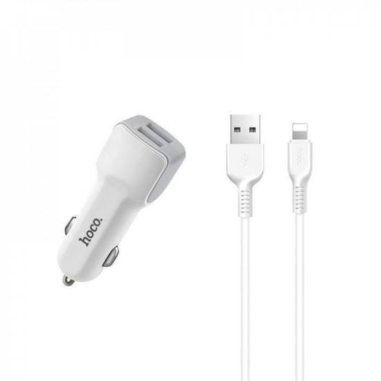 Автомобильное зарядное устройство HOCO Z23 + кабель Iphone белый