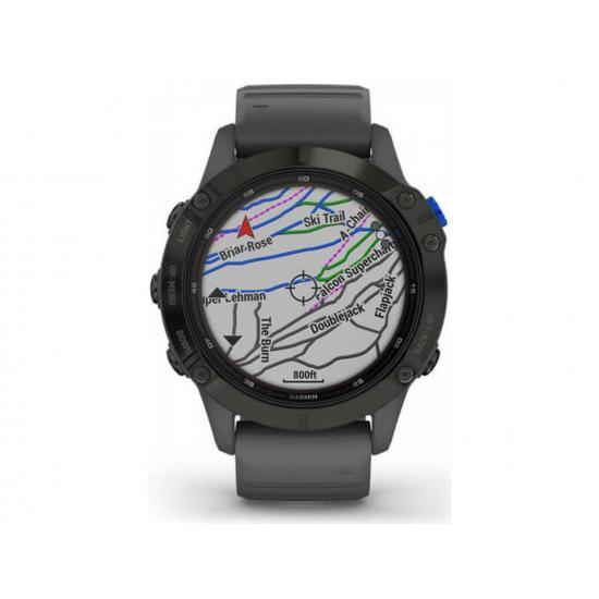 Часы Garmin Fenix 6 Pro Solar черные с серым ремешком (010-02410-11)