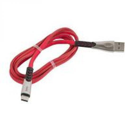 Кабель USB 2.0 (M) Type-C HOCO U48 (2.4A) Superior плоский, нейлон, оплетка, красный