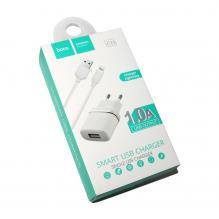 Зарядное устройство + кабель Apple HOCO (original) C11. 1*USB 1.0A Белый