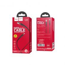 USB кабель HOCO U39 для Iphone 2.4A в тканевой оплетке золото-черный